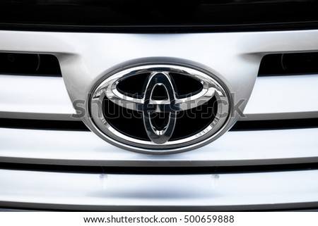 ODESSA, UKRAINE - OCTOBER 16, 2016: Toyota motors logo and badge on the car