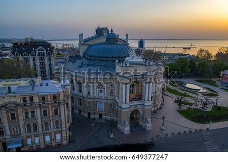 ODESSA/UKRAINE - 3RD MAY 2017: Aerial image of sunrise over the Odessa Opera House Ukraine. The port of Odessa is in the background