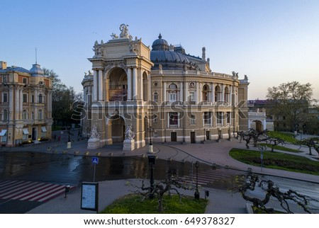 ODESSA/UKRAINE - 03RD MAY 2017: Elevated drone image of the Odessa Opera House Ukraine at sunrise.