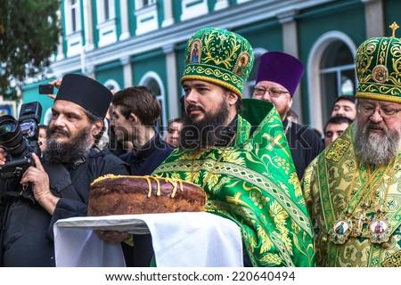 ODESSA, UKRAINE - SEPTEMBER 29: First visit of the Rector of the Ukrainian Orthodox Church Onufry, Metropolitan of Kiev and All Ukraine in celebration monastery September 29, 2014 in Odessa, Ukraine  - stock photo