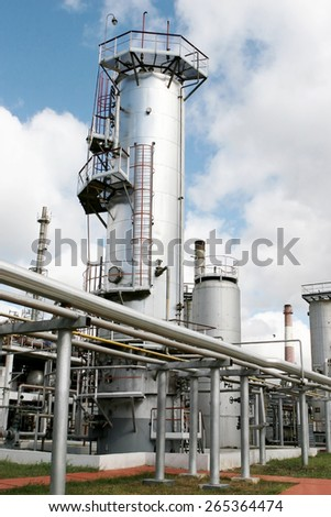 ODESSA, UKRAINE - 14 September 2008: Petrochemical refinery Lukoil in Odessa. Fragments processing chemical plant. Oil, gasoline, chemicals