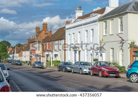 Odiham/UK. 15th June 2016. The historic high street of Odiham in Hampshire of which the village has origins dating back to the Domesday book of 1066.