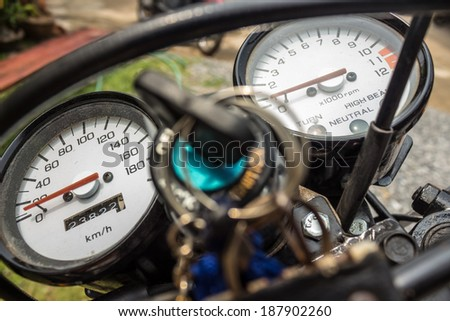 Odometer motorcycle - stock photo