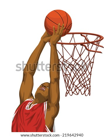 of basketball player in action. - stock photo