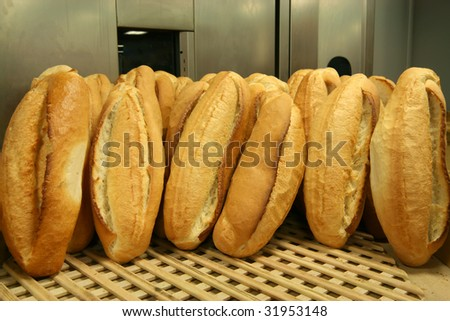Of hot bread ready for sale - stock photo