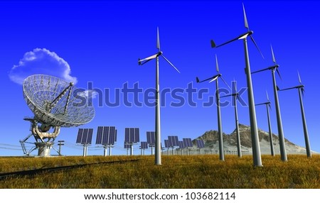 Of wind generators and solar panels on the sky. - stock photo