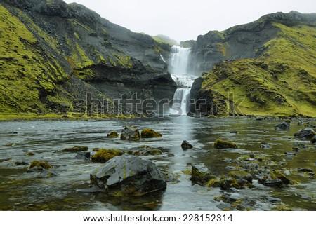 Ofaerufoss waterfall in Eldgja canyon, Iceland highlands - stock photo