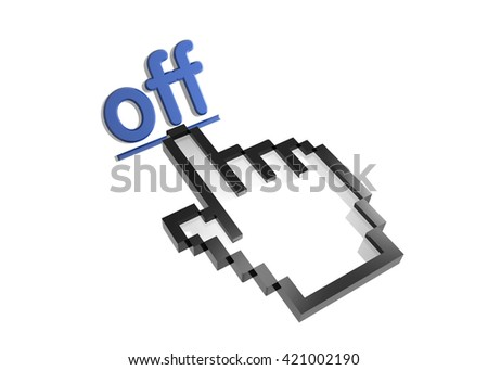 off. 3d rendered inscription. Link and finger, pointer. Isolated on white - stock photo