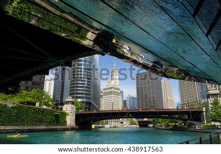 Off of the Chicago River as the sun lights up the city.  Chicago, Illinois, U.S.A