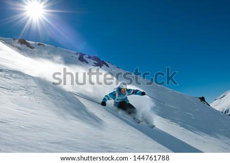 Off-piste skiing in Chapelco, San Martin de los Andes, Argentina. - stock photo