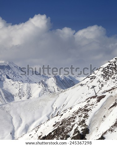 Off-piste slope in little snow year. Caucasus Mountains, Georgia. Ski resort Gudauri. - stock photo