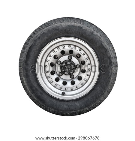Off-road car wheel on steel disc, front view isolated on white - stock photo