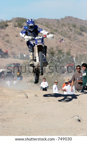 off-road motorcyclist - stock photo
