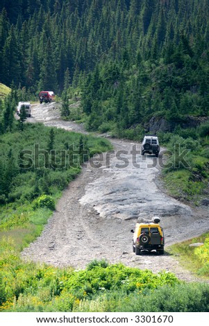 Off-road rally in Colorado Rockies, USA - stock photo