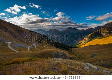 Off Road Trail Clear lake San Juan Mountains Colorado USA Landscape