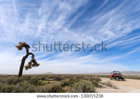 Off Road Vehicle and Joshua Tree - stock photo