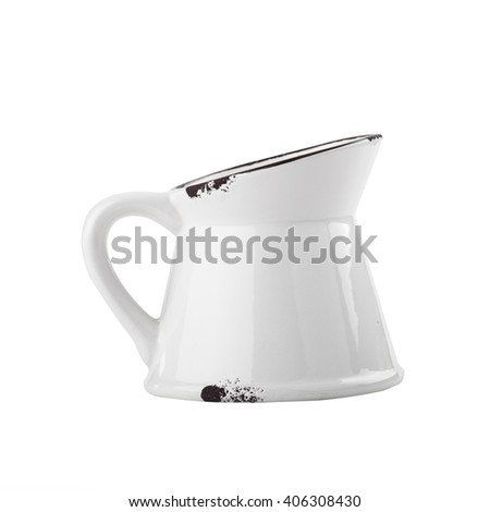 Off-white enamel flower pot with handle isolated on white background.