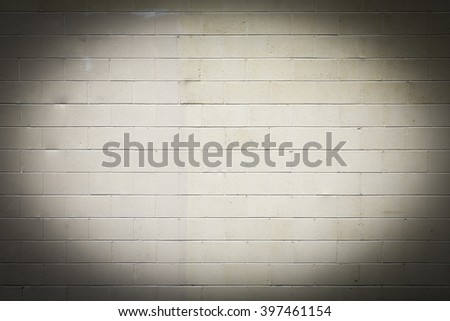 Off White Exterior Wall of Concrete Blocks with Vignette