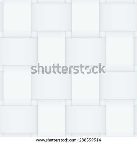 Off white monochrome seamless pattern consisting of interwoven paper stripes. Shadows give it a 3d feeling. - stock photo