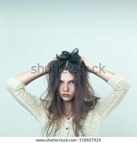 Offended girl - stock photo