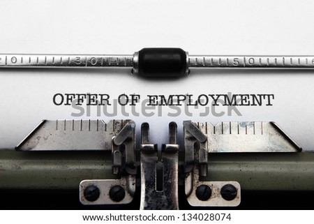Offer of employment - stock photo