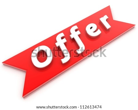 Offer red banner with white letters - stock photo