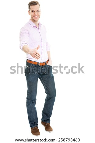 Offering a handshake - young man isolated on white full body shot - stock photo