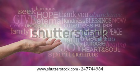 Offering Love - Female hand outstretched with the word LOVE floating above, surrounded by love related words on a wide purple colored background - stock photo