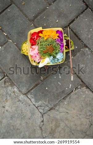 Offerings, in Bali, Indonesia - stock photo