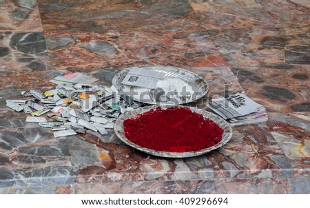 offerings to the gods out of the temple in Malaysia Kuala Lumpur - stock photo
