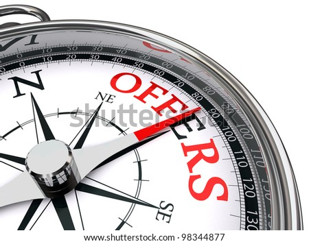 offers red word indicated by compass towards east conceptual image.clipping path included