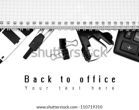 Office accessories and notebook. On a white background.