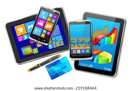 Office and home tablet computers, mobile phones of different generations, bank card and pen with gold nib as a successful business concept (raster version). - stock photo