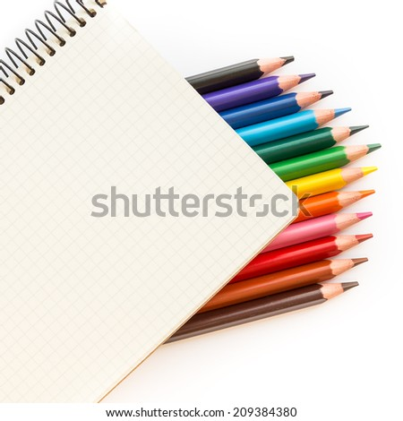 Office and school accessories. Pencil and notebook isolated on white background. - stock photo