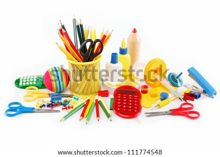 office and student accessories isolated on a white background. Back to school concept. - stock photo
