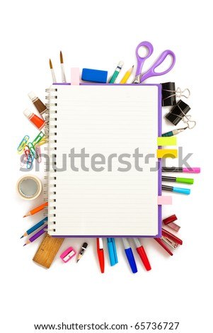 office and student tool over white background - stock photo