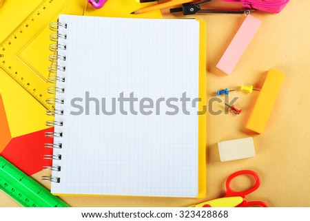Office and student tools on light background closeup - stock photo