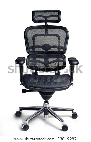 Office armchair for boss isolated on white background, clipping path - stock photo