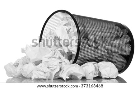 Office basket with crumpled paper isolated on white background - stock photo