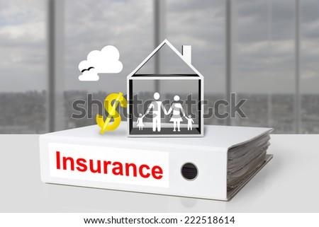 office binder insurance family home residential dollar symbol - stock photo