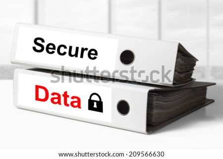 office binders secure data lock symbol - stock photo
