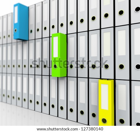 Office Binders, yellow, green, blue