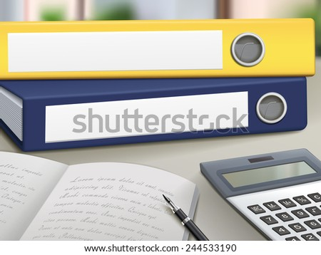 office blank binders pile up on table - stock photo