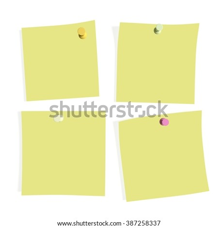office blank post it paper with thumbtack place for text illustration background