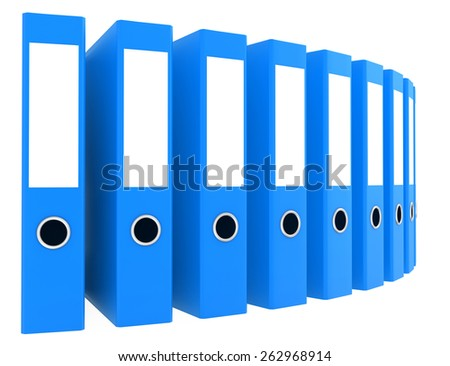 Office blue blank folders. 3d render illustration. - stock photo