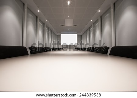Office boardroom ready for presentation - stock photo