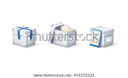 Office boxes icon set. Documents archive. Paperwork.
