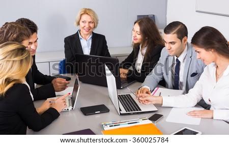 Office brainstorming of professional business team at meeting for staff  - stock photo
