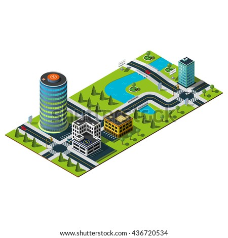 Office building and police department illustration. Bridge over the river. Isometric map.