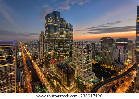 office building at dusk,bangkok city - stock photo